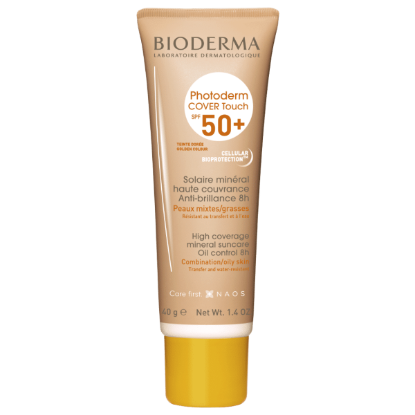 BIODERMA Photoderm Cover Touch SPF 50+ zeltaini tonēts saules aizsarglīdzeklis 40g